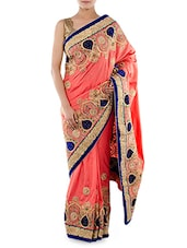 Pink Embroidered Zoya Silk Saree - Indiancultr By Kriti