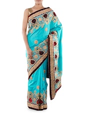 Blue Embroidered Zoya Silk Saree - Indiancultr By Kriti
