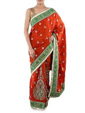 Orange Embroidered Gajji Silk Saree - Indiancultr By Kriti