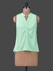 Sleeveless Mandarin Collar Polka Dot Top - Besiva