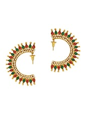 Maroon & Red Stones & Polki Embellished Earrings - Adiva