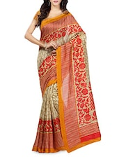 Red Floral Printed Striped Border Ghicha Silk Saree - Sareemall