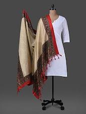 Beige Printed Poly Silk Dupatta - Inara Robes