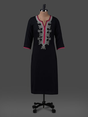 Black plain embroidered rayon kurta