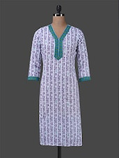 Purple Printed Cotton Kurta - Inara Robes