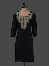 Black Plain Cotton Kurta With Quarter Sleeves - Inara Robes