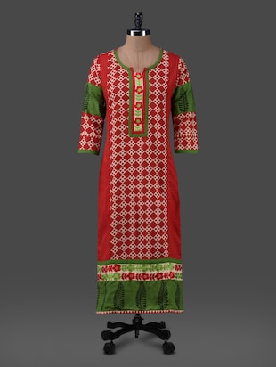 printed embroidered cotton kurta