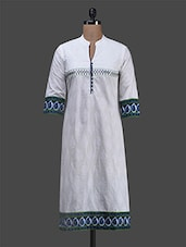 White Printed Embroidered Cotton Kurta - Inara Robes
