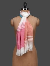 Pink Yarn Dyed Stripes Viscose Stole - By