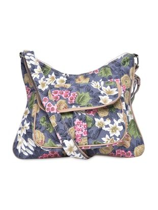 Blue Floral Printed Sling Bag