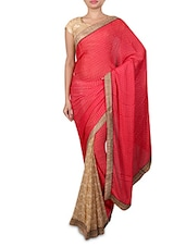 Red Printed Chiffon Georgette Saree - By