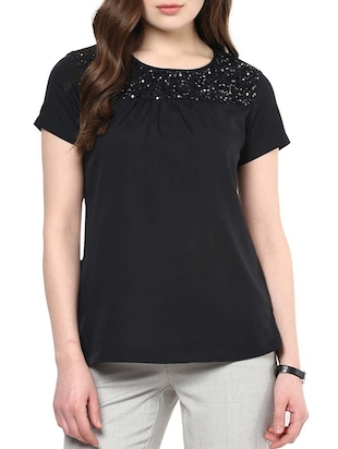 black crepe sequined top