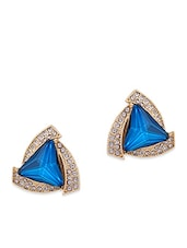Blue Metal Studs Earring - By