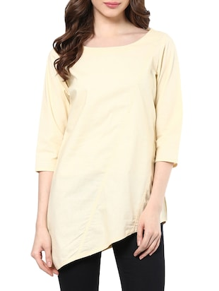 solid beige cotton tunic