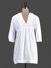 White Embroidered Cotton Tunic With Hood - AMERICAN SAGE
