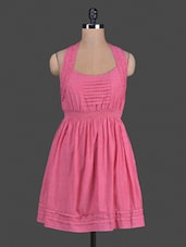 Solid Pink Sleeveless Cotton Dress - AMERICAN SAGE