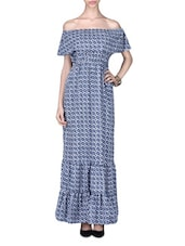 Blue Polycrepe Printed Ruffled Maxi Dress - By