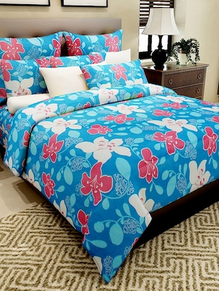 blue cotton printed double bedsheet set