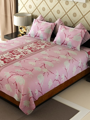 pink cotton printed double bedsheet set