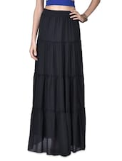 Black Georgette Maxi Skirt - By