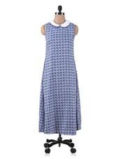 Blue Polycrepe Printed Midi Dress - By