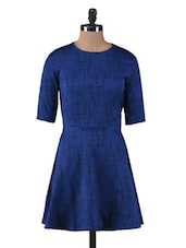 Blue Jacquard Fit And Flare Dress - By