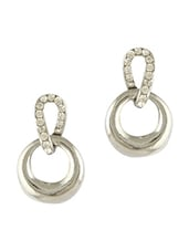 Silver Embellished Loop Shaped Earrings With Stones - By