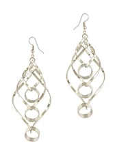Silver Studded Metallic Entwined Earrings - THE BLING STUDIO