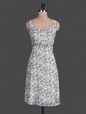 White Printed Poly Georgette Sleeveless Dress - Meira