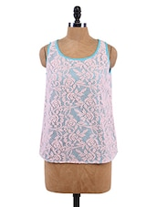 Floral Lace Sleeveless Top - Sepia