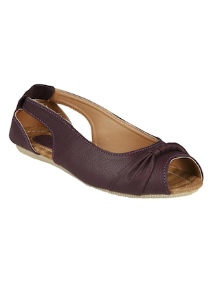 purple leatherette slip on sandals
