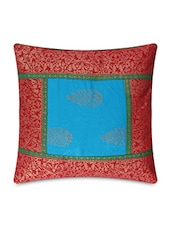 Red And Blue Pure Cotton Japipuri Cushion Cover Set - By