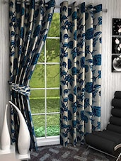 Elegance Blue Roses Print  Window Curtain Set Of 4 - By