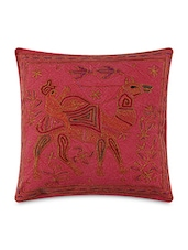 Red Pure Cotton Zari Embroidered Cushion Cover Pair - By