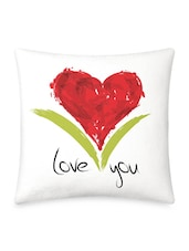 Red Heart With Love You Quote Printed Cushion Cover - By