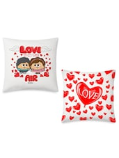 Romantic Couple & Glossy Red Hearts Printed Cushions Covers Set - By