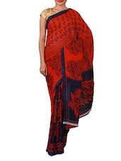 Red Dani Georgette Printed Saree - By