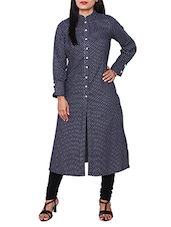 Blue Cotton Polka Dots Print Kurta - By