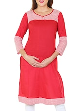 Red Cotton Polka Dots Print Kurta - By