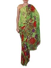 Green Floral Print Georgette Saree - Ambaji