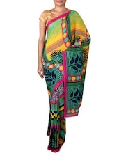 Green Renial Georgette Printed Saree - By