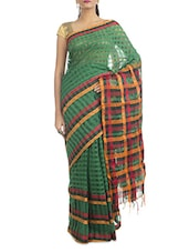 Green Silk Cotton Handwoven Saree - By