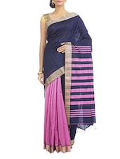 Navy Blue And Pink Silk Cotton Saree - Cattalia