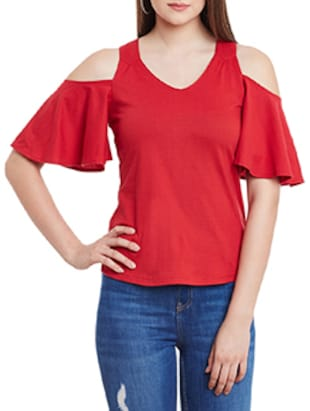 red cotton cold shoulder top