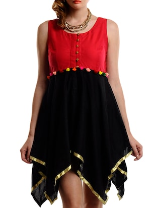 Black and red pom pom trim cotton dress