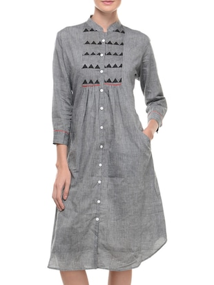 Grey three quarter sleeved cotton dress