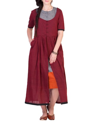 Maroon gathered mangalgiri cotton kurta