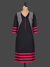 Black Geometric Printed Cotton Kurta - By
