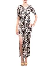 Snakeskin Print Thigh Slit Long Dress - The Style Aisle