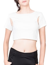 White Cutout Detail Crop Top - The Style Aisle